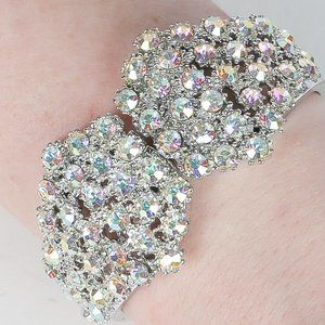 Vintage Rhinestone Hinged Bracelet Bangle Cuff